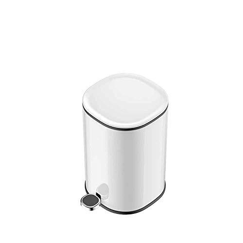 Yuxahiugljt La Basura Redondo de Acero Inoxidable Puede papeleras, contenedores de Basura Bin - for el baño, Medio baño, Dormitorio, Cocina, Sala de artesanía, Oficina