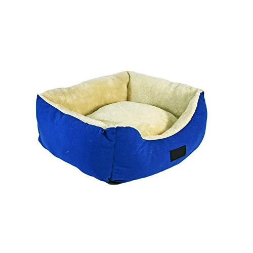 Warm zacht pluche hondenbed, in de machine wasbare ademende hondenbank met omkeerbaar kussen hondenmand gemakkelijk schoon te maken voor katten of kleine honden huisdier bed, 50x40x18cm, BlueB