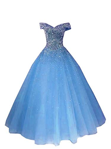 DommyDesign Sliver Embroidery Off Shoulder Ball Gown for Women Girls with Sleeves Corset Tulle Sequins Blue 0