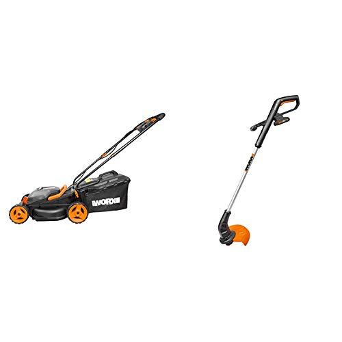 WORX WG779E.2 36V (40V MAX) Cordless 34cm Lawn Mower (Dual battery x2 20V Batteries) & WG157E 18V (20V MAX) Cordless Grass Trimmer, Black