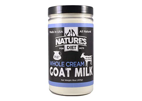 Nature's Diet Pet Dried Whole Cream Goat Milk for use as High Protein, Hypoallergenic Digestion, Nutrition and Anti-inflammatory Powdered Instant Meal Topper (16 oz = 53 Cups or 159 Servings)