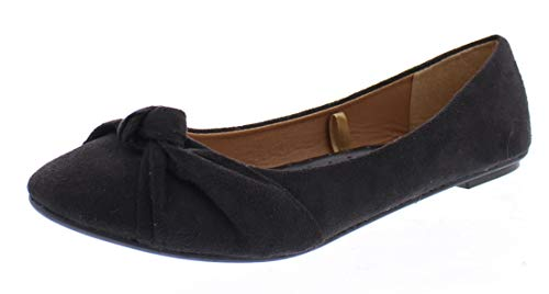 Inez Faux Suede Pointy Toe Flats for Women,Comfort Arch Support Shoes,Dress Flat Black 8 US