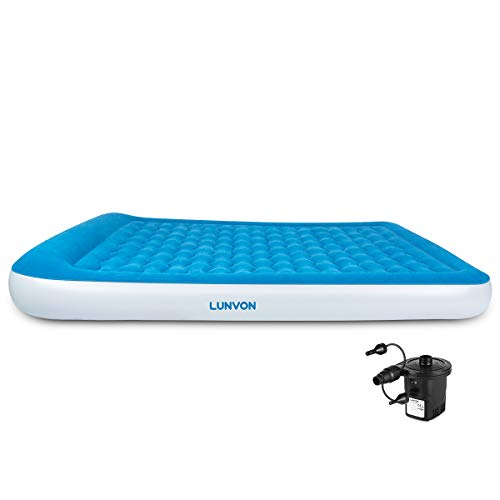 Lunvon Queen Size Self Inflatable Pad Camping Air Mattress Blow Up Bed with Built-in Pillow...