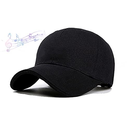 ブルートゥースキャップ、ブルートゥーススピーカーキャップ、磁気充電付き骨伝導キャップ、360°サラウンドサウンド、防水および防雨、多機能屋外スポーツ野球帽,黒