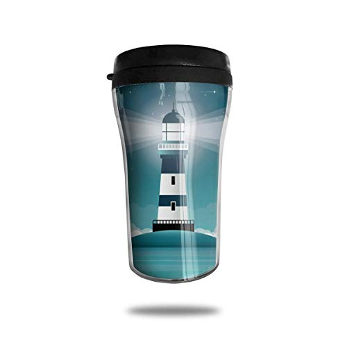 Blue Cartoon Lighthouse Coffee Cup Double Walled Travel Mug Reusable Cup for Coffee,Tea and Beer
