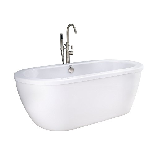 American Standard 2764014M203.011 Cadet 66 in. Acrylic Freestanding Soaker Bathtub with Tub Filler, Hand Shower and Drain, Arctic White American Standard Acrylic Oval Tub
