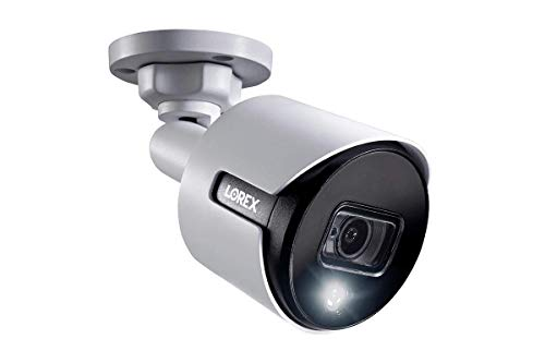 Lorex C581DA Indoor/Outdoor 2K 5MP Super Analog HD Active Deterrence Bullet Camera, 2.8mm, 135ft IR Night Vision, CNV, Works with D841/D841B Series, Only Camera, White (Renewed)