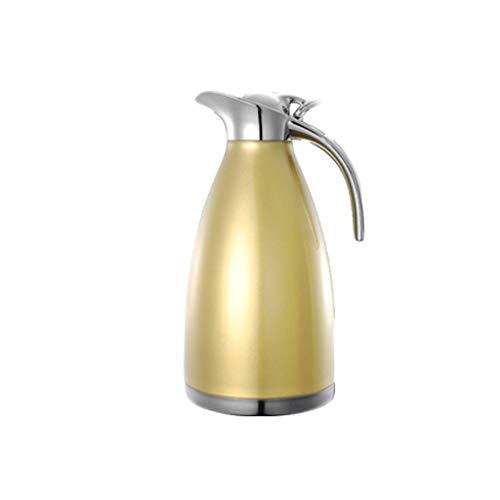 GAOLILI Pot d'isolation Bouilloire d'isolation de maison 304 en acier inoxydable Grande capacité Press Hotel Bouilloire 2 L (Couleur : Pearl gold)