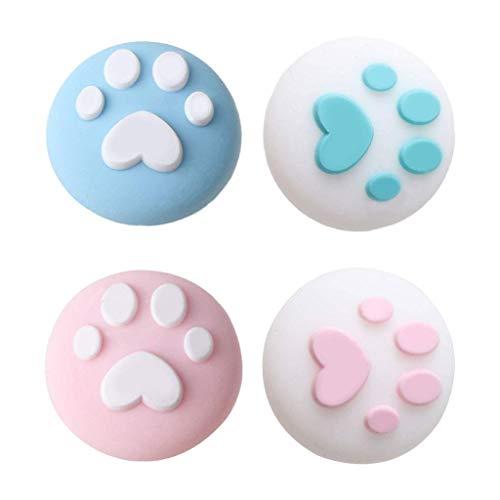 4 fundas protectoras de silicona suave con diseño de garra de gato para el pulgar y el interruptor NS Switch/Switch Lite para mando Joy-Con, para amantes del juego, regalos y llaves