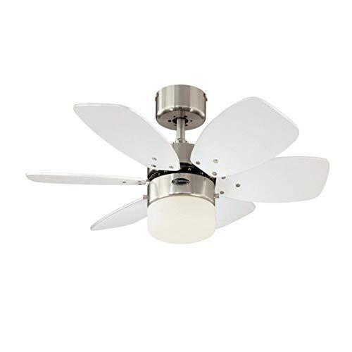 Westinghouse Lighting 78788 - Ventilador de techo para interior Flora Royale One-Light de 76 cm Six, vidrio esmerilado opal, acabado en cromo satinado con aspas reversibles plateadas / blancas