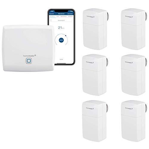 Homematic IP Smart Home Heizungssteuerung für 6 Heizkörper. Geeignet für Büros, Arztpraxen und Wartezimmer. Manipulationssicheres Behördenmodell-Thermostat mit Demontageschutz gegen Diebstahl.