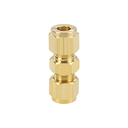 uxcell Brass Compression Tube Fitting 9.8 mm OD Straight UNC 10-24 Thread Nozzle Hole Pipe Adapter for Garden Water Irrigation System 5pcs