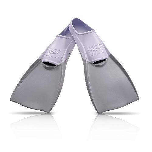 Speedo Unisex Swim Training Fins Rubber Long Blade White/Grey, L - Men's Shoe size 8-9 | Women's Shoe size 9.5-10.5