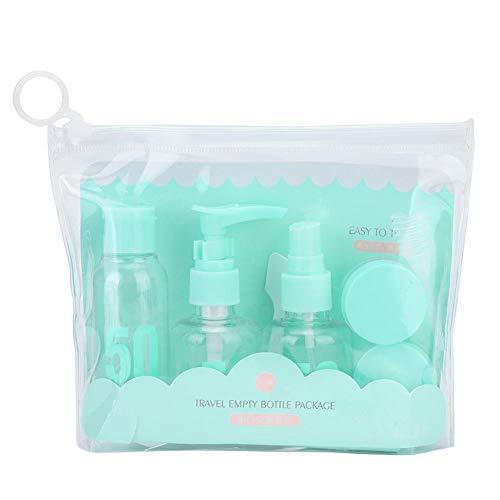 Borraccia da viaggio, Dekiam 7PCS Portable Mini Empty Spray Press Shampoo Bottle Cream Set Contenitore da viaggio