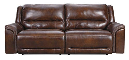 Signature Design by Ashley Catanzaro Leather 2 Seat Dual-Sided Power Reclining Sofa with USB Port, Brown