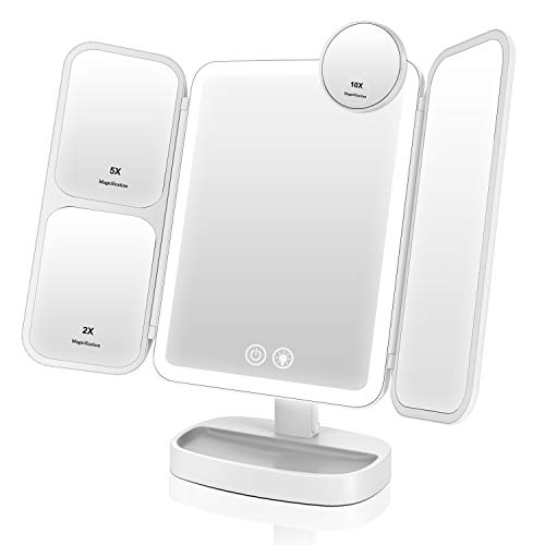 EASEHOLD Miroir Maquillage Lumineux LED Batterie Rechargeable Tri-Pli Grossissement 2X / 5X / 10X 3 Lighting Effects 66 LED 2800mAh 180° Rotation - Blanc