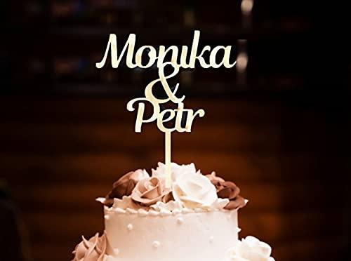 Pet-Jos Cake Topper Personalisierte Holz Hochzeitstorte Hochzeit personalisiert mit Namen Topper Jubiläum Kuchen Dekoration Party Dekoration Wedding Cake Topper Custom