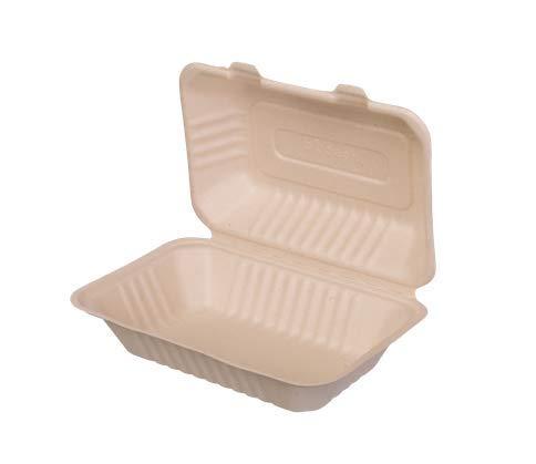 bio3 Contenedor desechable Comida para Llevar caña de azúcar, Ideal para Alimentos fríos y Calientes, con y sin liquido 100{ad2691754126520c294d00e075779ce07f2157187442ac367a57c22774115ff0} Biodegradable y Compostable, 18x13cm 600ml, Paquete con 25 Piezas