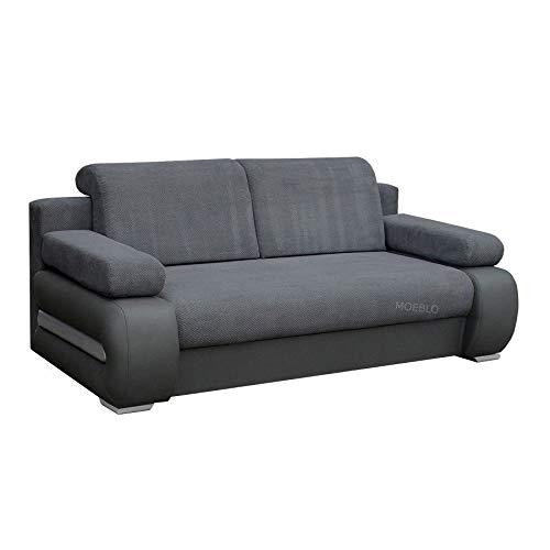 mb-moebel Couch mit Schlaffunktion Sofa Schlafsofa Wohnzimmercouch Bettsofa Ausziehbar - York (Dunkelgrau + Grau)