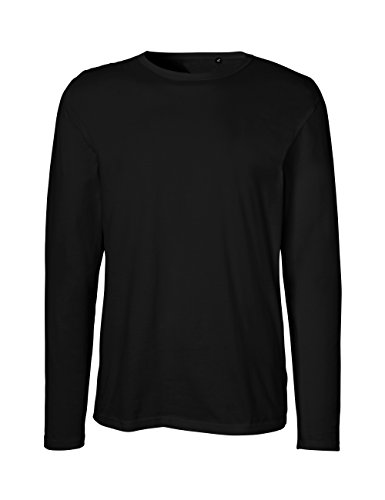Green Cat Herren Langarm T-Shirt, 100% Bio-Baumwolle. Fairtrade, Oeko-Tex und Ecolabel Zertifiziert, Schwarz, XL