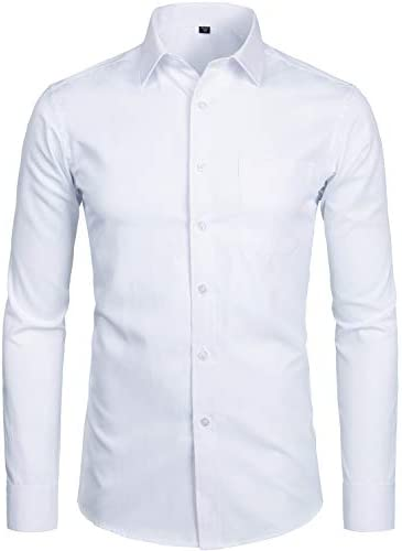 ZEROYAA Men s Long Sleeve Dress Shirt Solid Slim Fit Casual Business Formal Button Up Shirts product image