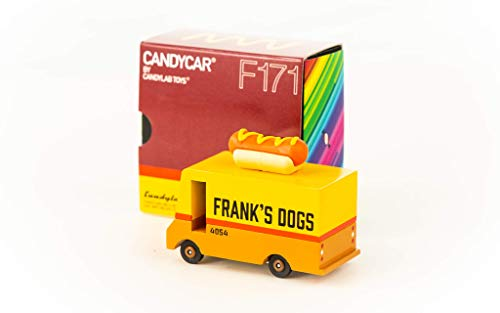 Candylab Toys Wooden Car, Candyvan Hot Dog, Kids Mini Toy Car, Solid Beech Wood