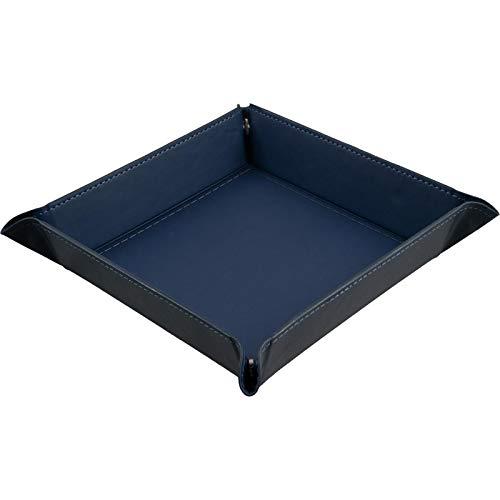 shibby - Faltbare Würfelschale, Würfelunterlage aus Kunstleder in blau - 22 x 22cm