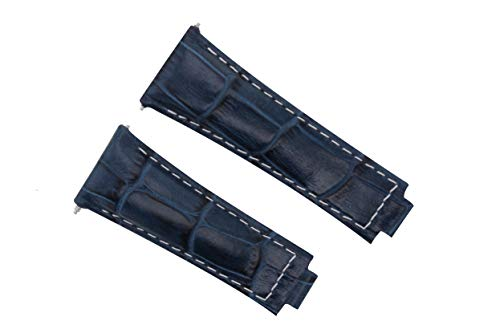 Leather Strap Italian Compatible with Rolex Daytona 116519 116520,116523 Watch Blue Ws
