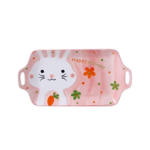 Juego de vajillas de cerámica creativa Cuenco para niños lindo plato de cena placa de refrigerio bañera binaural Bandeja (Size : 1)
