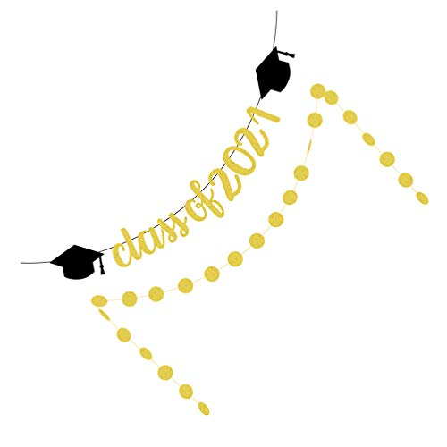 PRETYZOOM Class of 2021 Banner Circle Dot Hanging Garland Grad Party Bunting Banner for 2021 Graduation Congrats Bunting Decoration
