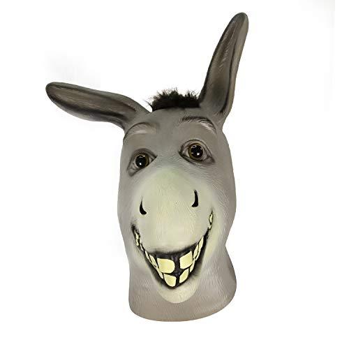 Esel Maske, Halloween Esel Gesichtsmaske, Neuheit Deluxe Kostüm Party Latex Tierkopf Maske für Erwachsene