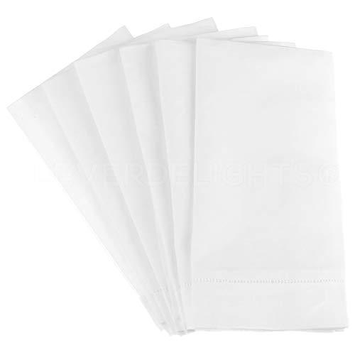 CleverDelights Servietten mit weißem Hohlsaum, 50,8 cm, 55/45 Leinen/Baumwoll-Mischgewebe, 50,8 x 50,8 cm, 6 Stück