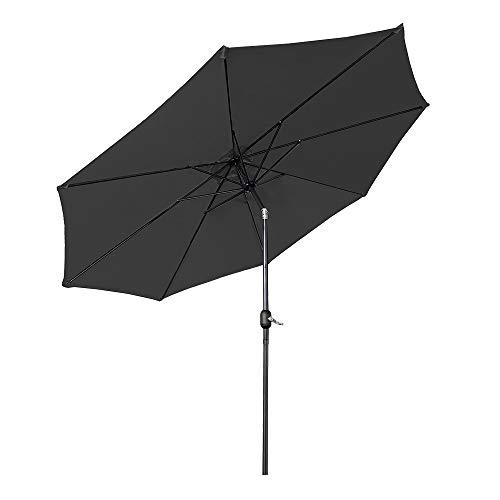 Aufun Sonnenschirm 300cm mit kurbel UV Schutz Neigbar 40+ - Dunkelgrau Alu Balkon Terrassenschirm Marktschirm Gartenschirm (Dunkelgrau)