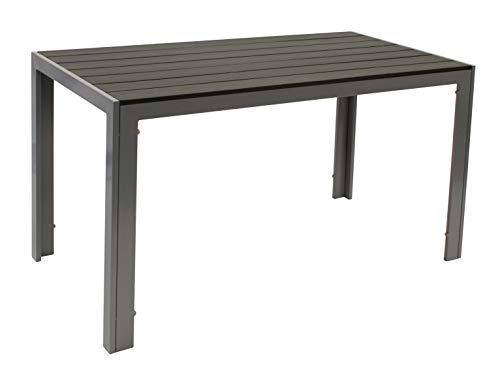 Gartentisch Sorano 70x125cm rechteckig, Gestell Aluminium Silbergrau, Tischplatte Polywood in Holzoptik dunkelgrau, wetterfest