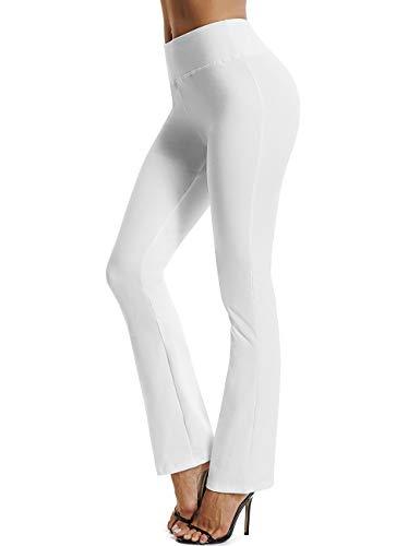 FITTOO Damen Bootcut Yogahosen Straight-Bein-Jogginghose Ausgestelltem Bein Yoga Hose Weiß S