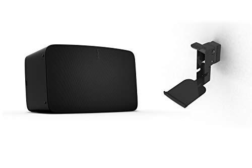 Sonos Five WLAN Speaker, schwarz – Leistungsstarker WLAN Lautsprecher für Musikstreaming mit kristallklarem Stereo HiFi Sound – AirPlay kompatibler Multiroom Lautsprecher - inkl. Flexson Wandhalterung