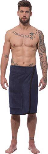 Morgenstern Saunakilt Herren Kilt lang mit Klettverschluss Blau Baumwolle Sauna Männer groß frottee Tuch Saunatuch Sarong weich Spa Mann