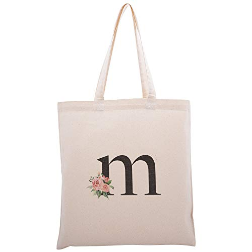 Personalized Floral Initial Cotton Canvas Tote Bag for Events Bachelorette Party Baby Shower Bridal Shower Bridesmaid Christmas Gift Bag | Daily Use | Totes for Yoga, Pilates, Gym, Workout | Initial M