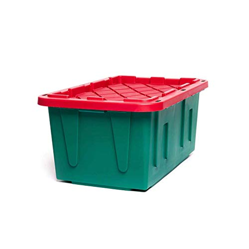 Homz Holiday Plastic Storage Container, 2 Pack, Red/Green, 2 Sets