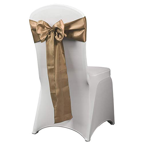 HAORUI 12PCS Satin Chair Sashes Bows for Wedding Chair Decoration (Mocha)