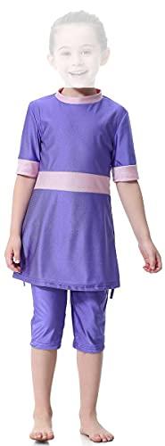 WOWDECOR Costume da bagno musulmano per bambina, 2 pezzi a maniche corte, Viola, L