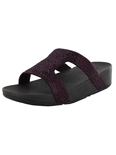 FitFlop Womens Marli H-Bar Crystal Slide Sandals, Wild Aubergine, US 9