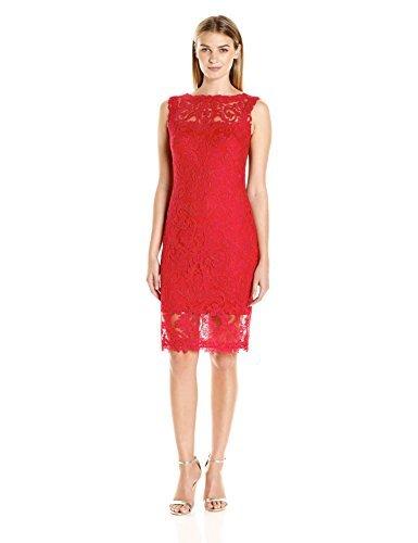 Tadashi Shoji Women's Corded Lace-Illusion Neckline-Slvls Dress, Flame, 2 (Apparel)