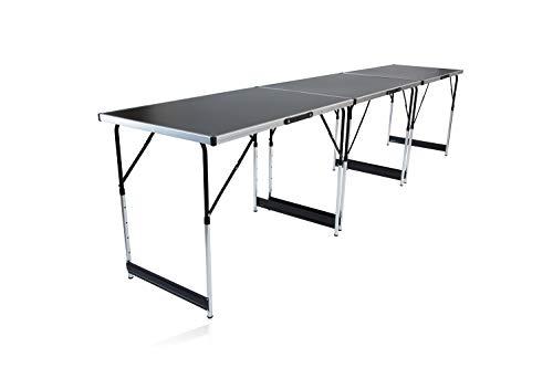 empasa Multifunktionstisch MASTER 3- teilig, 100 x 60 cm, Tapeziertisch Klapptisch Flohmarktisch Beistelltisch, Stahlrohrgestell, Gewicht 12 kg, höhenverstellbar mit Ausziehfunktion