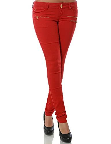 Daleus Damen Skinny Hose Treggings Stretch DA 15528 Farbe Rot Größe S / 36