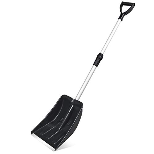 Micbox Audoc Snow Shovel with 46'' Adjustable Aluminum Handle 10.5'' Wide Blade Scoop Shovel, Digging Snow Removal Heavy Duty Snow Shovel Perfect for Car Driveway, Camping and Outdoor Emergency