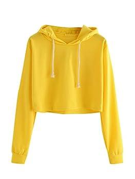 MAKEMECHIC Women s Casual Long Sleeve Pullover Hoodies Crop Tops Sweatshirt A bright yellow M