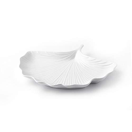 ZHENYANG Placa de refrigerio Personalizada.Plato de cerámica de Modelado de Hoja de Ginkgo Creativo 26.3x21cm (Color : White)