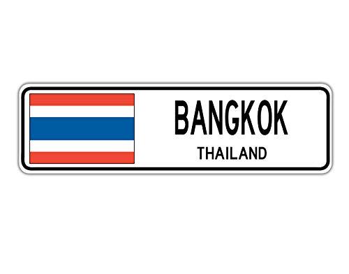 TammieLove New Road Sign Bangkok Thailand Straßenschild Thai-Flagge Stadt Land Straßenschild 10,2 x 40,6 cm