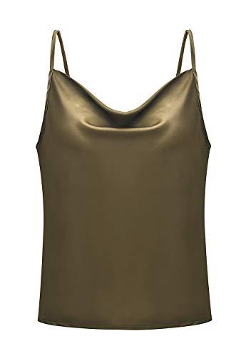 OMZIN Tank Tops Frauen Sommer Lose Taste V-Ausschnitt Cami Weste Bluse Ärmellos Riemchen Mini Kleid Vest Top Damen Neckholder,Armee grün,S